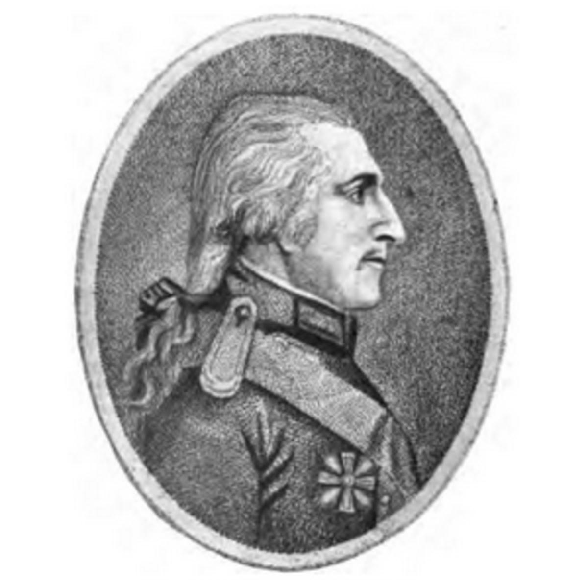 Profile of Count Rumford in uniform.