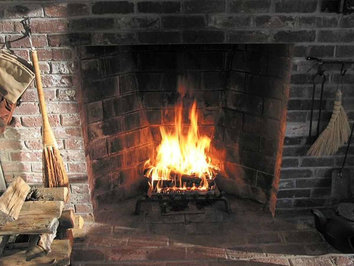This brick Rumford fireplace served heating & cooking duty.