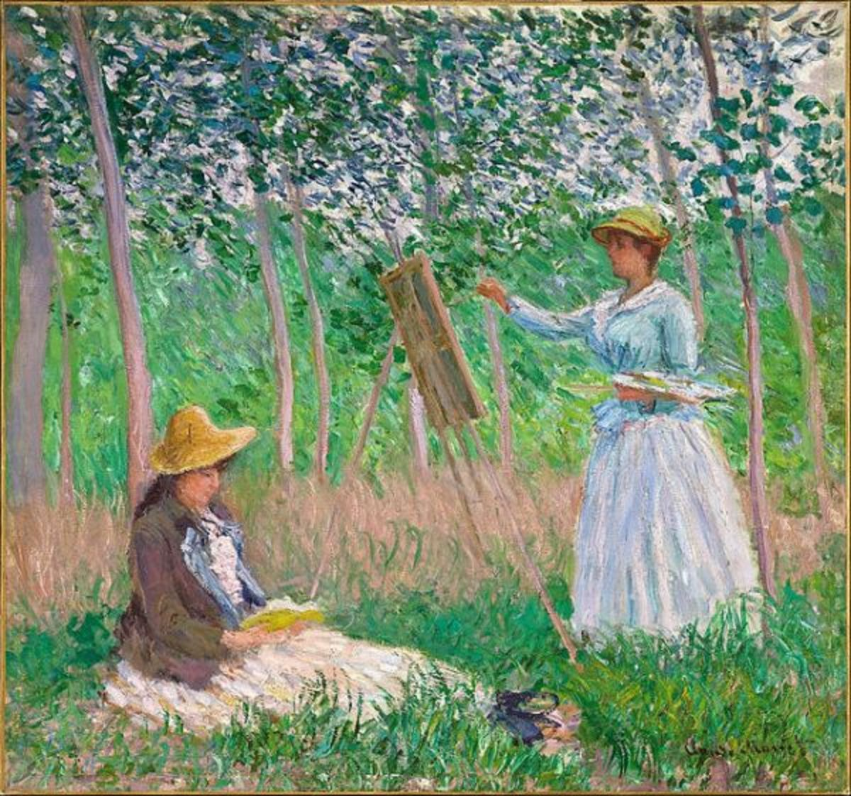 Claude Monet - In the Woods at Giverny- Blanche Hoschedé at Her Easel
