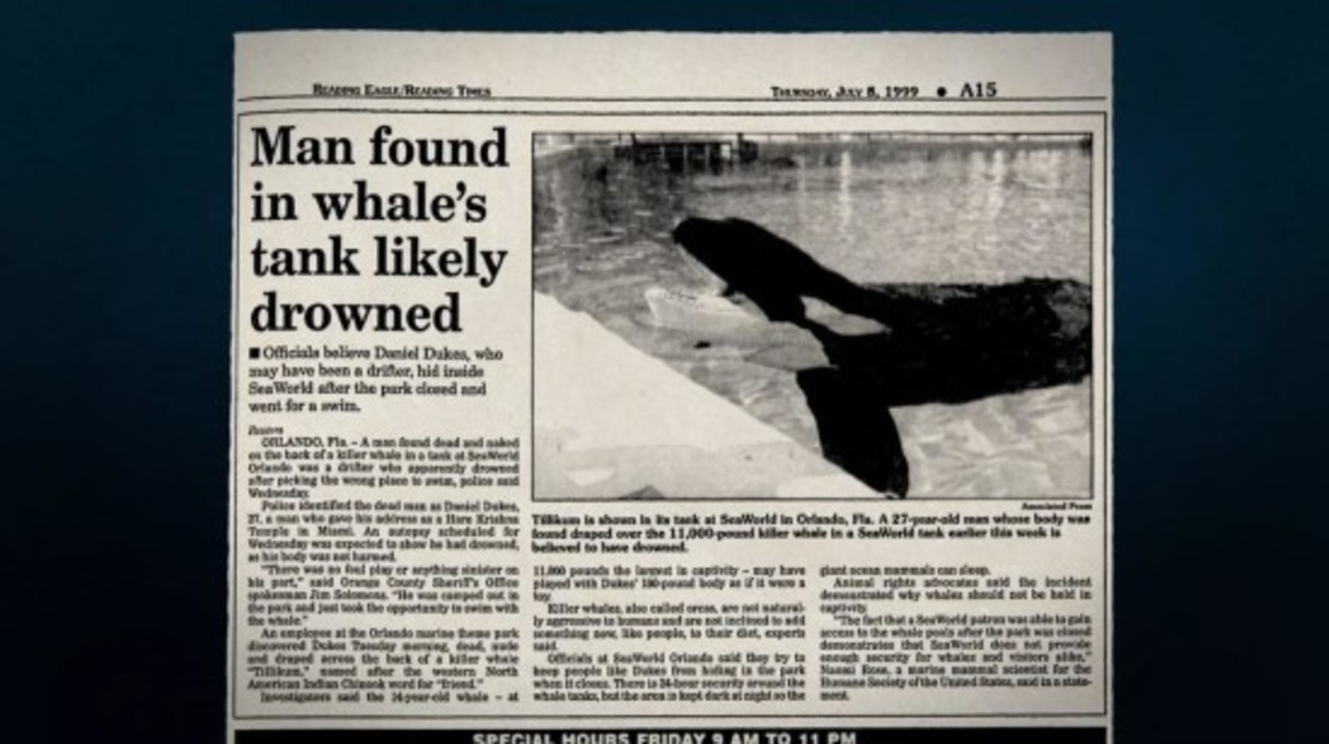1997 article about the death of Daniel Dukes at Seaworld, after he drowned in Tilikum's pool
