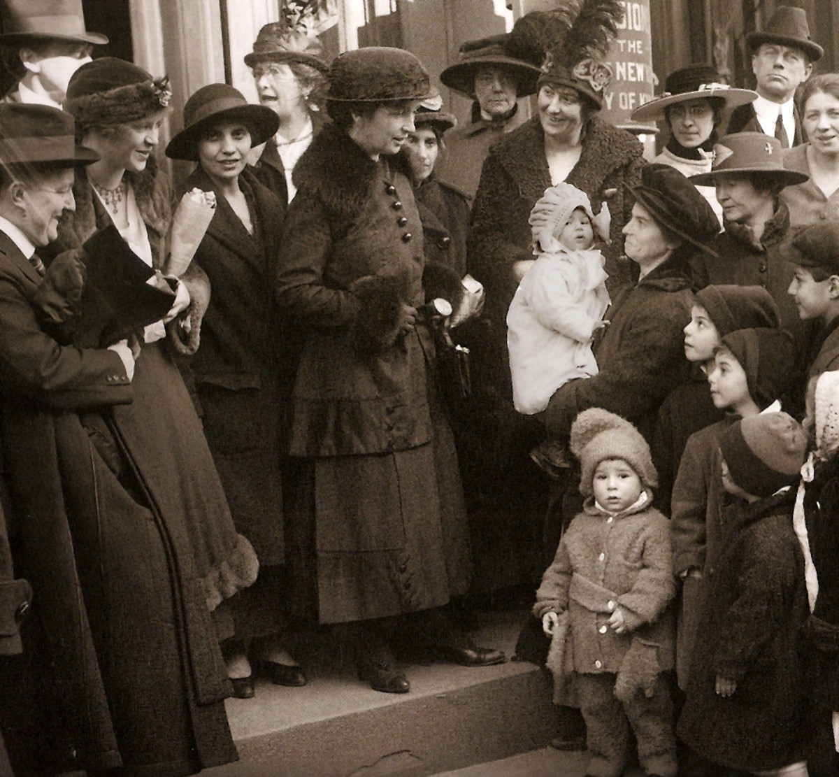 Margaret Sanger and her sister Ethyl Byrne, on the steps of a courthouse in Brooklyn, New York, on January 8, 1917. This photo was taken during a trial accusing Sanger and others for opening a birth control clinic in New York. Both were found guilty.