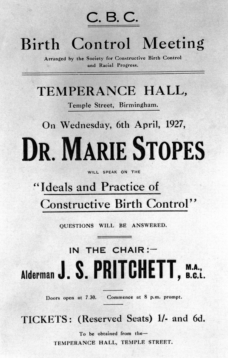 Advertisement for a lecture on birth control given by Dr. Marie Stopes, 1927
