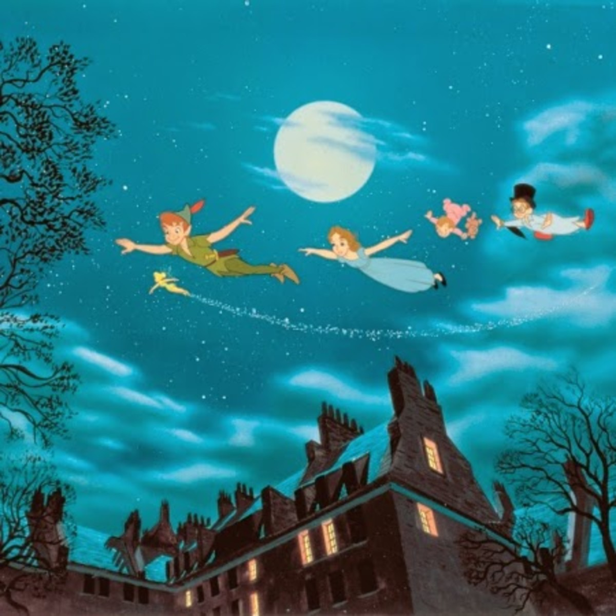 Some of the artwork in the film is truly wonderful such as this shot of Peter leading the children towards Neverland