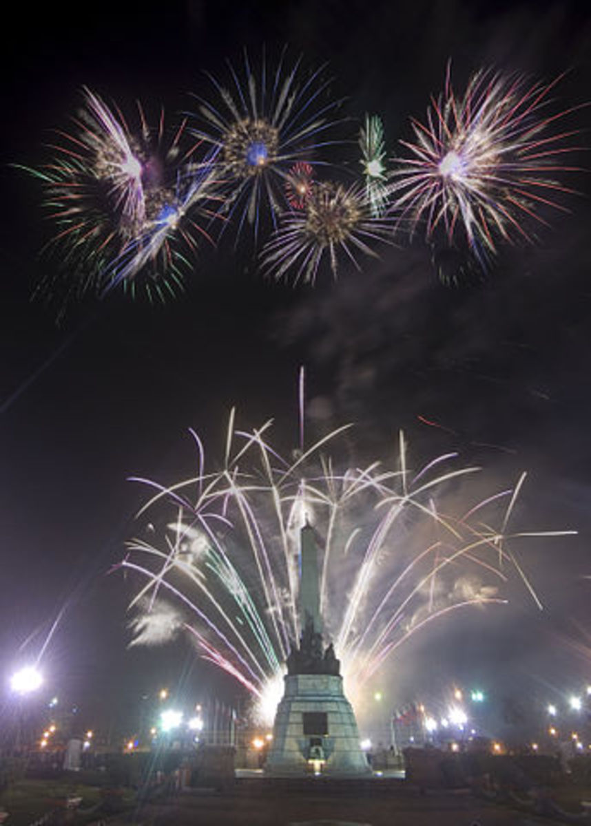 New Year Fireworks at Dr. Jose Rizal Monument at Rizal Park, Luneta, Manila,