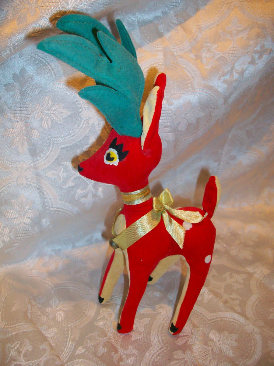 The Dream Pets Reindeer's came out in the 1950s and are holiday collectibles stuffed animals, they are made of velveteen and sometimes gold and silver clothe. The Dream Pets reindeer's are filled with sawdust from Willow trees.