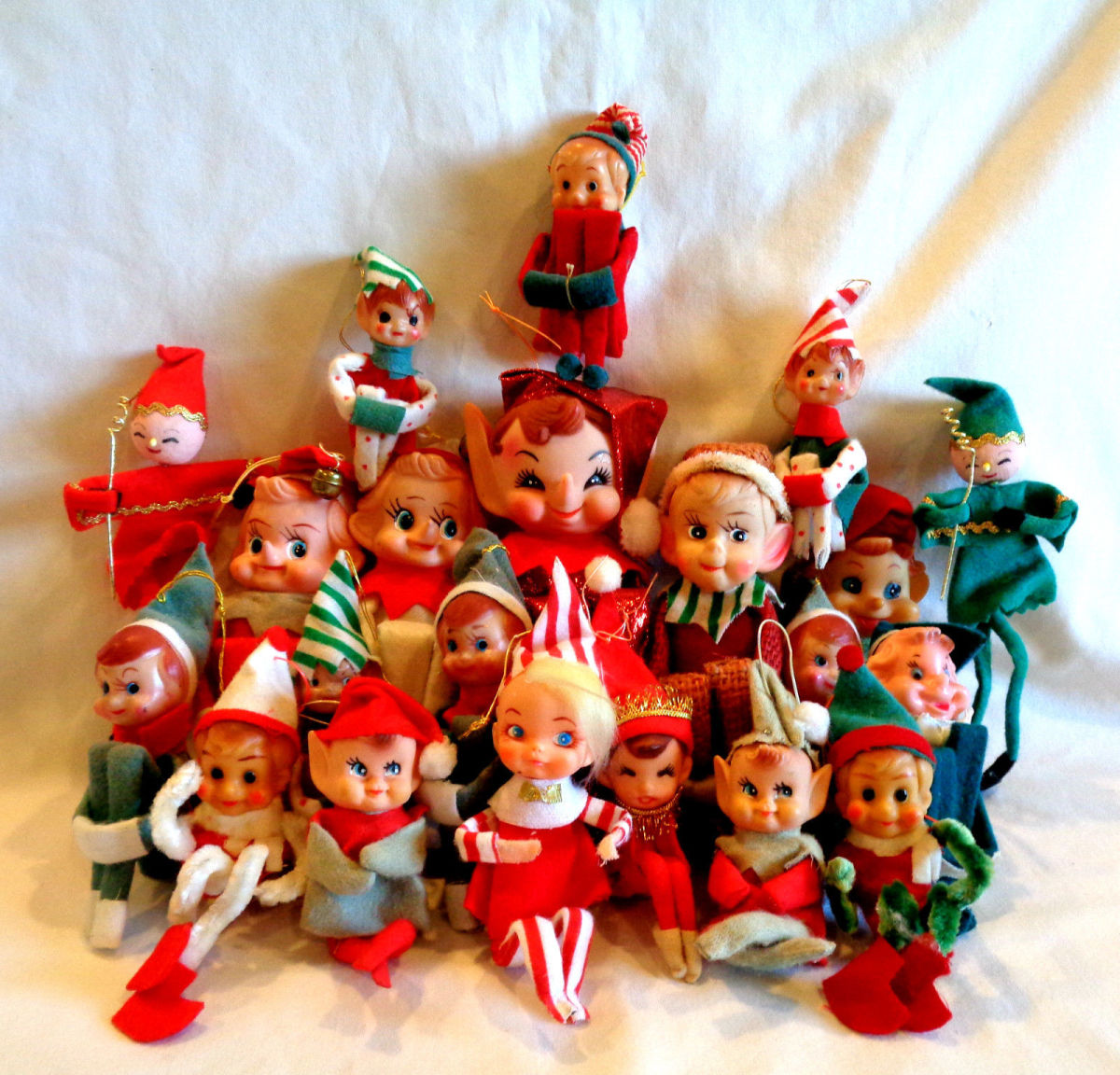 Many of the now popular vintage Knee Huger Elf's were made by Napco,and Yuletide Company of Japan throughout the 1950s and 1960s. They did an excellent job with their Elf's and became very popular in the United States and Canada during this era.