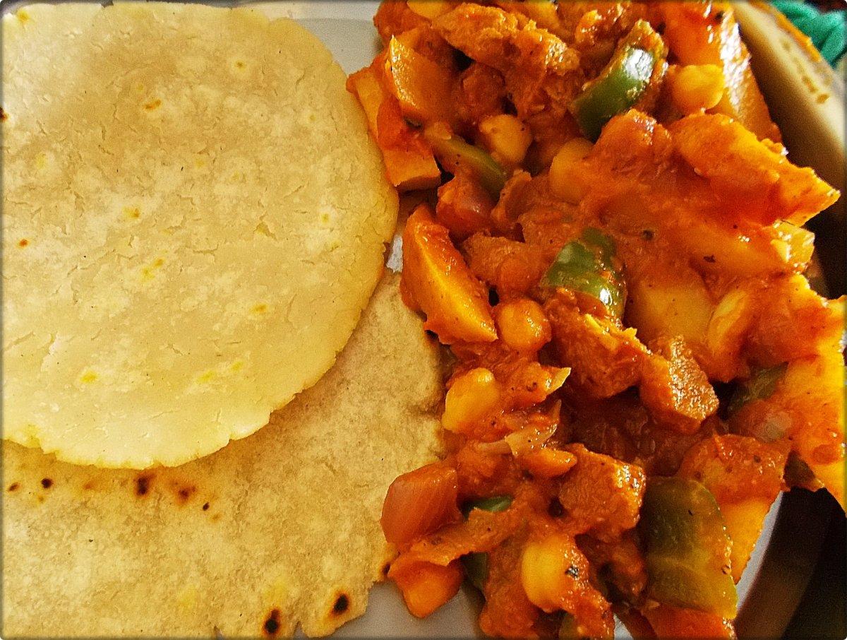 Vegan Afritada with rice roti. Great combo, too!