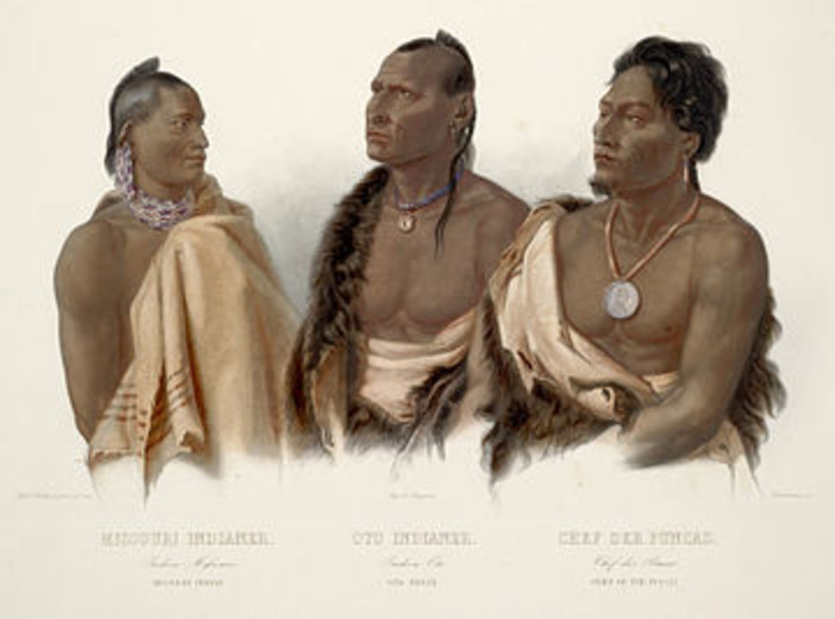 Missouri warrior at left - painting by Karl Bodner