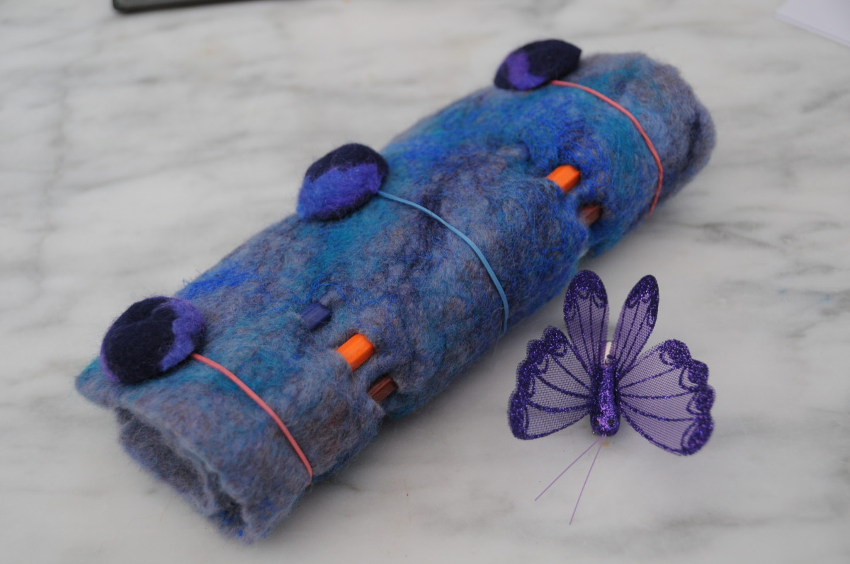 Wet felted pencil pouch