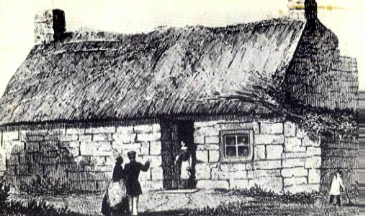 An etching that depicts where James Cook was born 27th October, 1728 to local lass Grace and James Cook Snr., a Scots' economic migrant. A large urn stands in the garden where the cottage stood