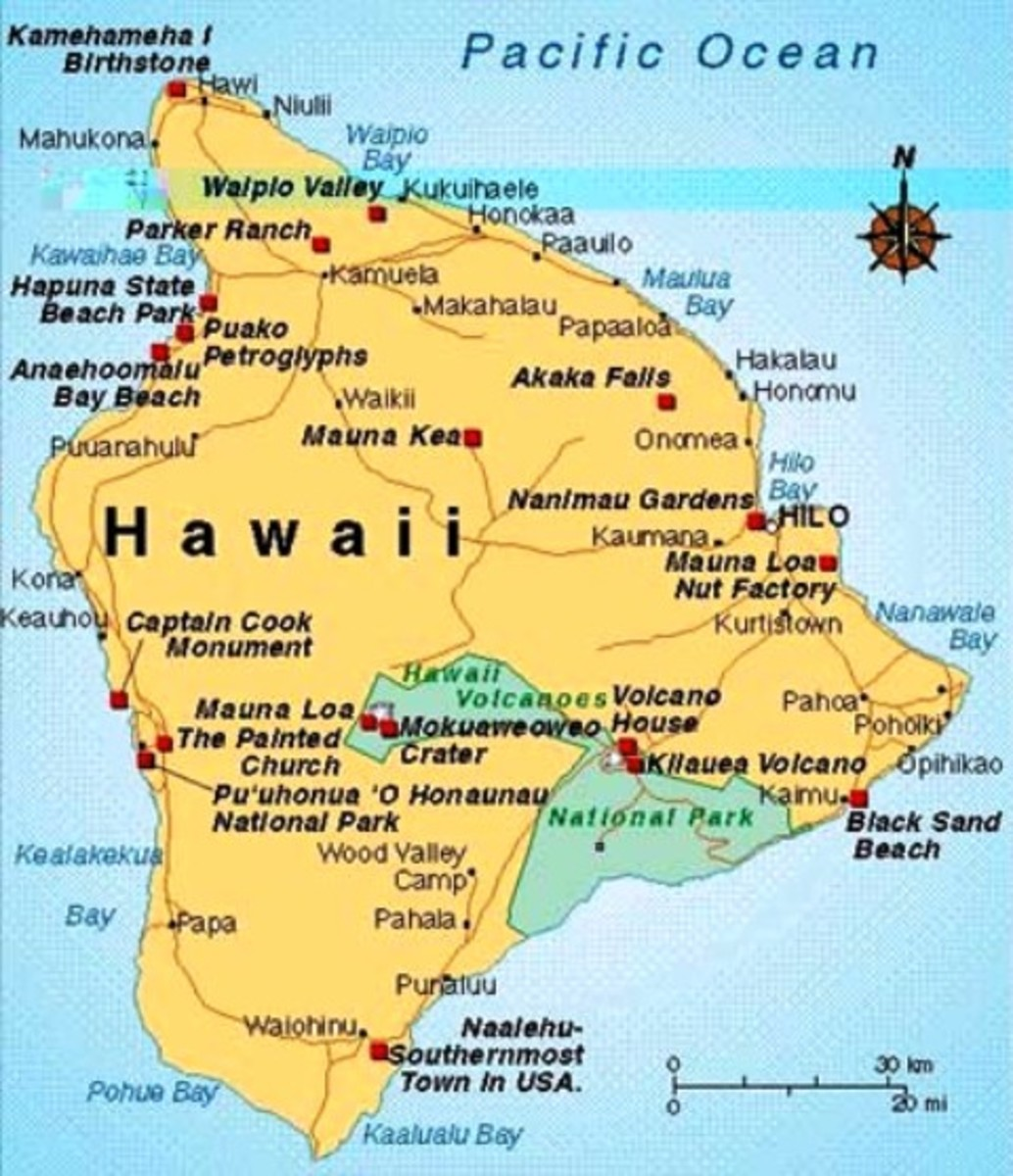 Kealakekua Bay is situated on the west side of Hawaii (left of the 'H' on the map)