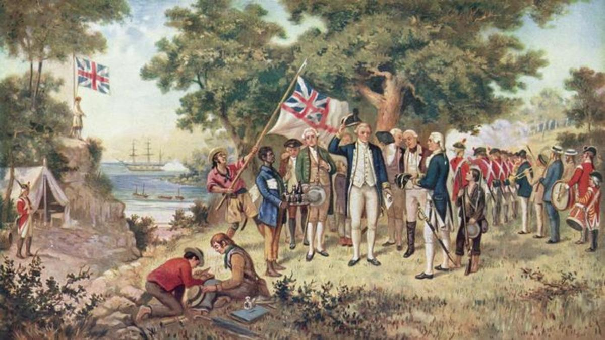 Captain Cook at the shore encampment, possibly consulting on progress of the work in hand