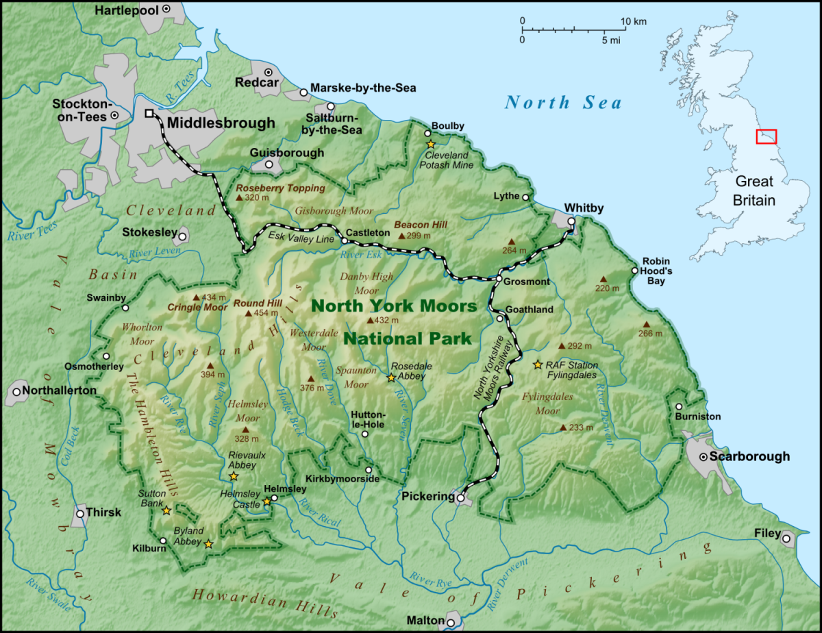 North Yorkshire Moors, the lower Tees Valley to the north - Staithes, where Cook found a taste for sea-going is on the coast (right), north-west of Whitby near where Boulby is marked. Marton, south of Middlesbrough, is the site of a dedicated museum