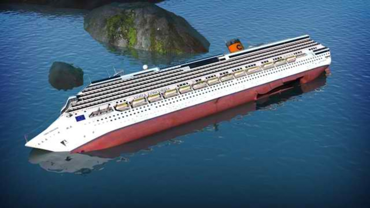 Costa Concordia turned over after hitting rocks at the bottom...