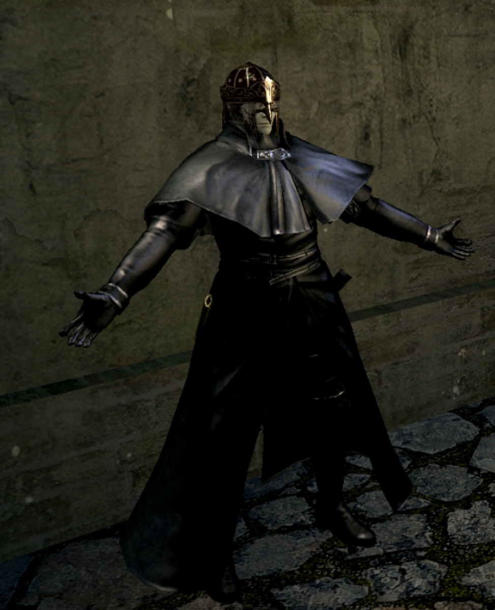 Oswald of Carim, the pardoner, as he appears in Dark Souls.