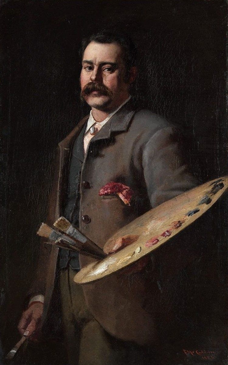 Self-portrait (1886, oil on cardboard, by Frederick McCubbin (1855–1917).
