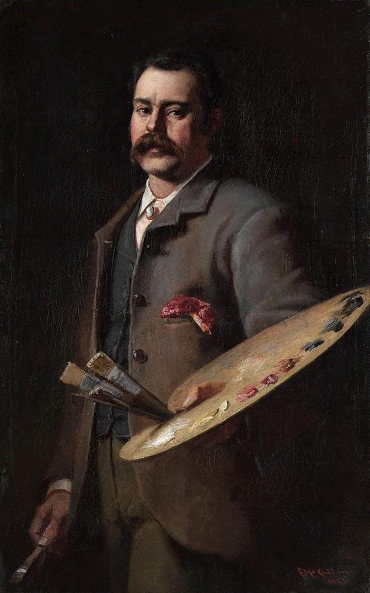 Self-portrait (1886, oil on cardboard, by Frederick McCubbin (1855–1917).