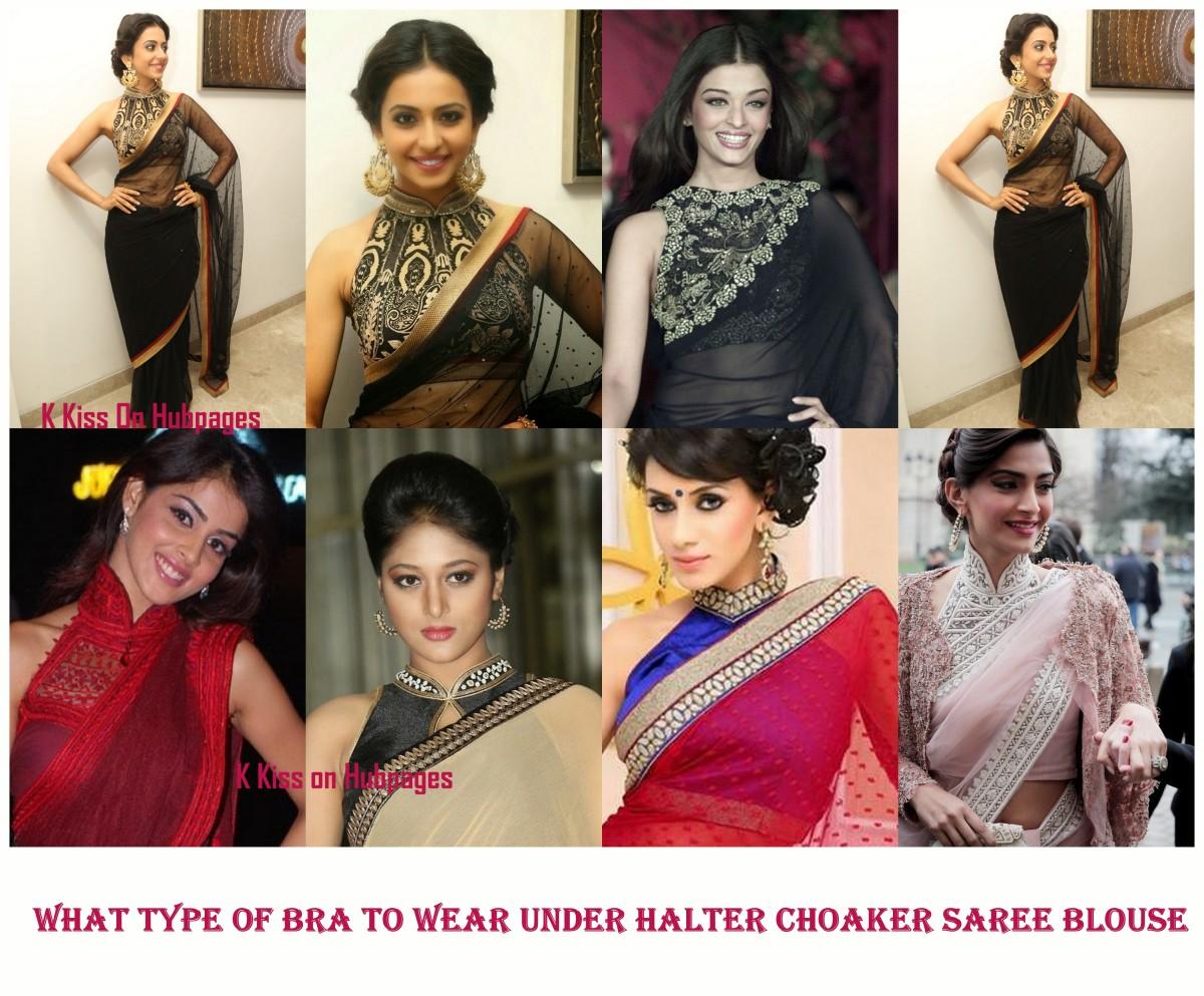 Sexy halter choker neck saree blouse
