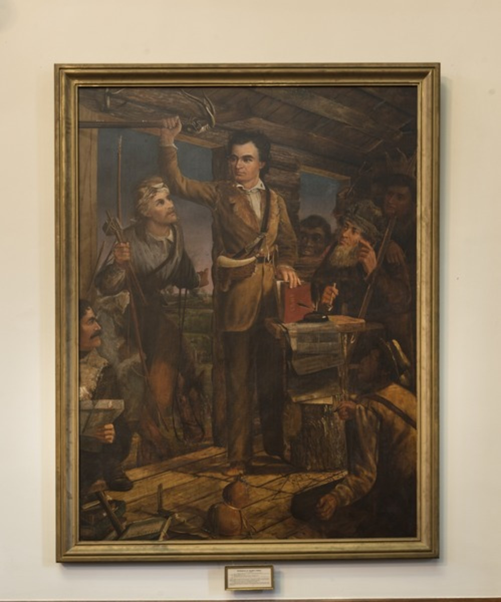 This painting, by Henry Arthur McArdle, shows Stephen Austin rallying the colonists. The mysterious Baron de Bastrop is listed as the man in the lower left corner.