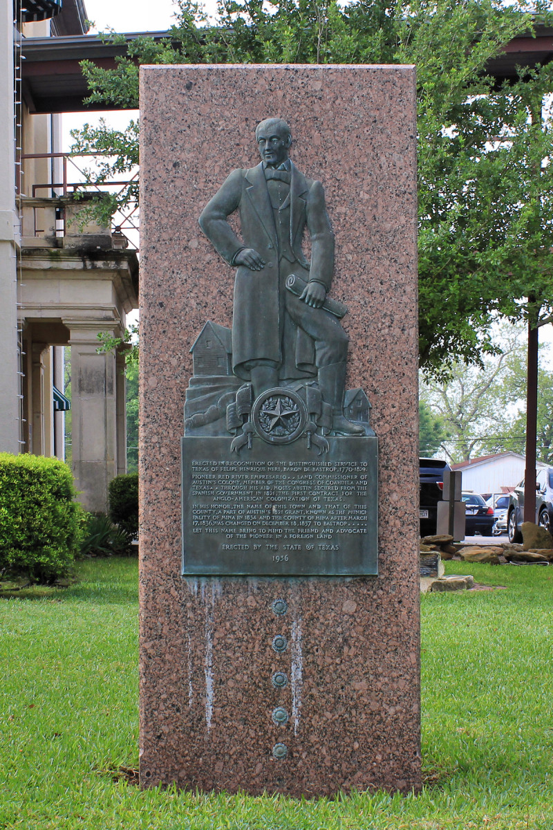 The Felipe Enrique Neri, Baron de Bastrop Texas Centennial Monument on the grounds of the Bastrop County Courthouse in Bastrop, Texas, United States. Photo by Larry D. Moore.