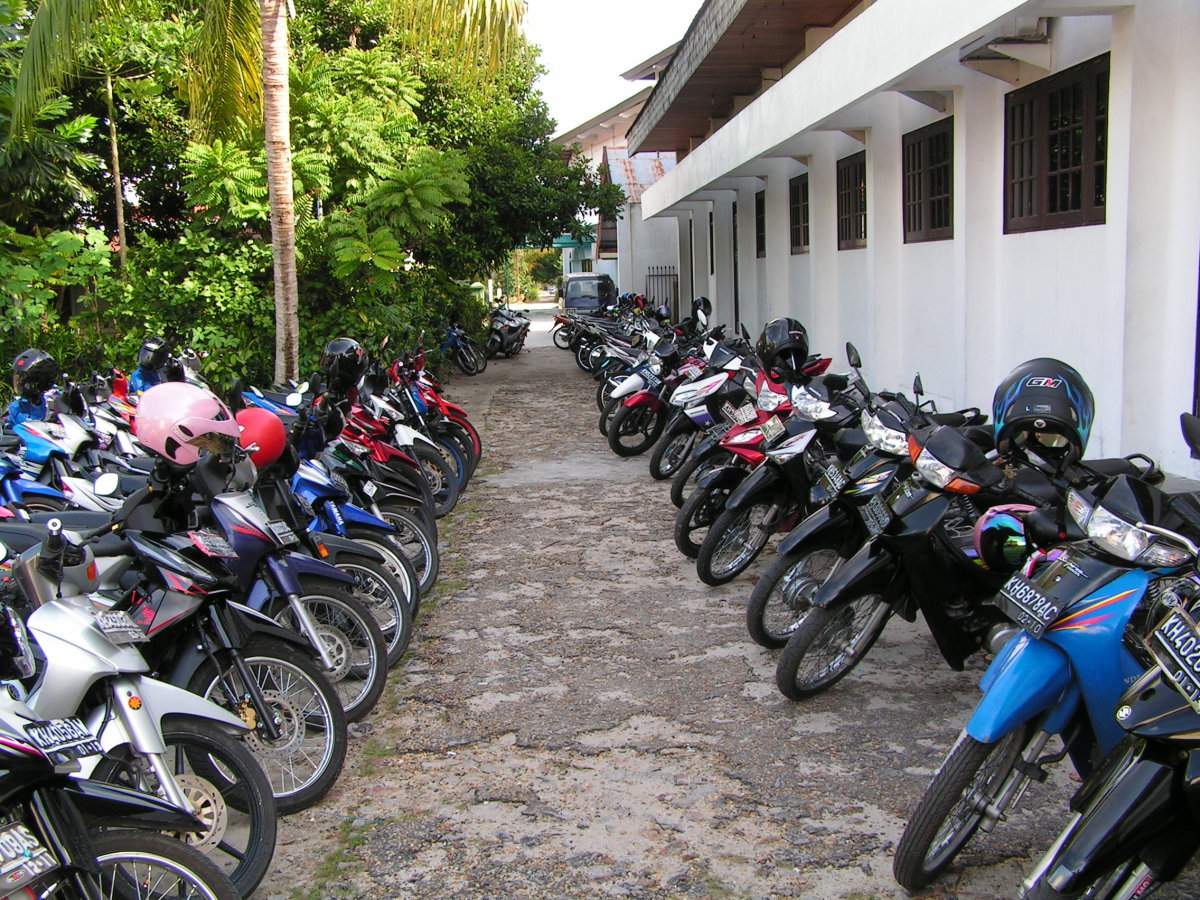Motorcycles outside an Asian church on Sunday morning