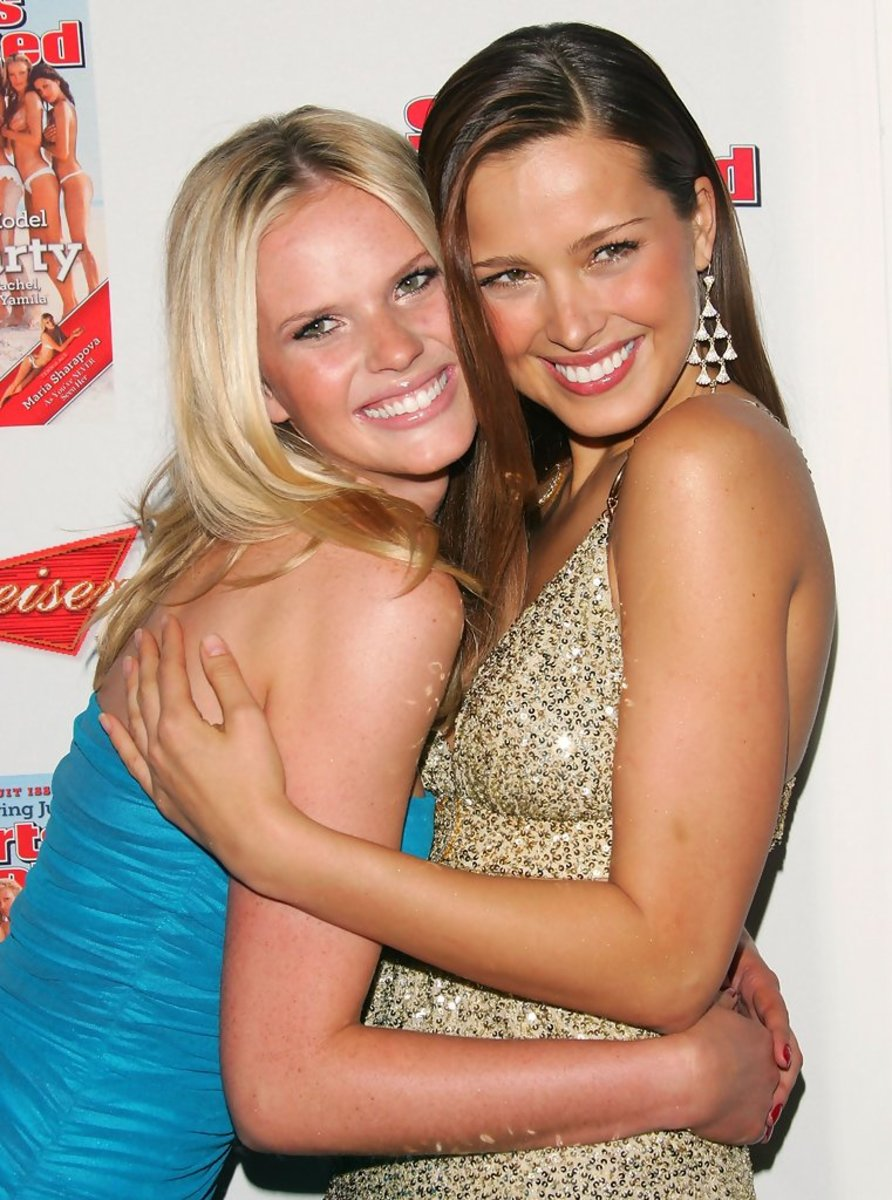 Petra Nemcova is seen here with model Anne V (left) during the 2006 Sports Illustrated Swimsuit issue event in New York.