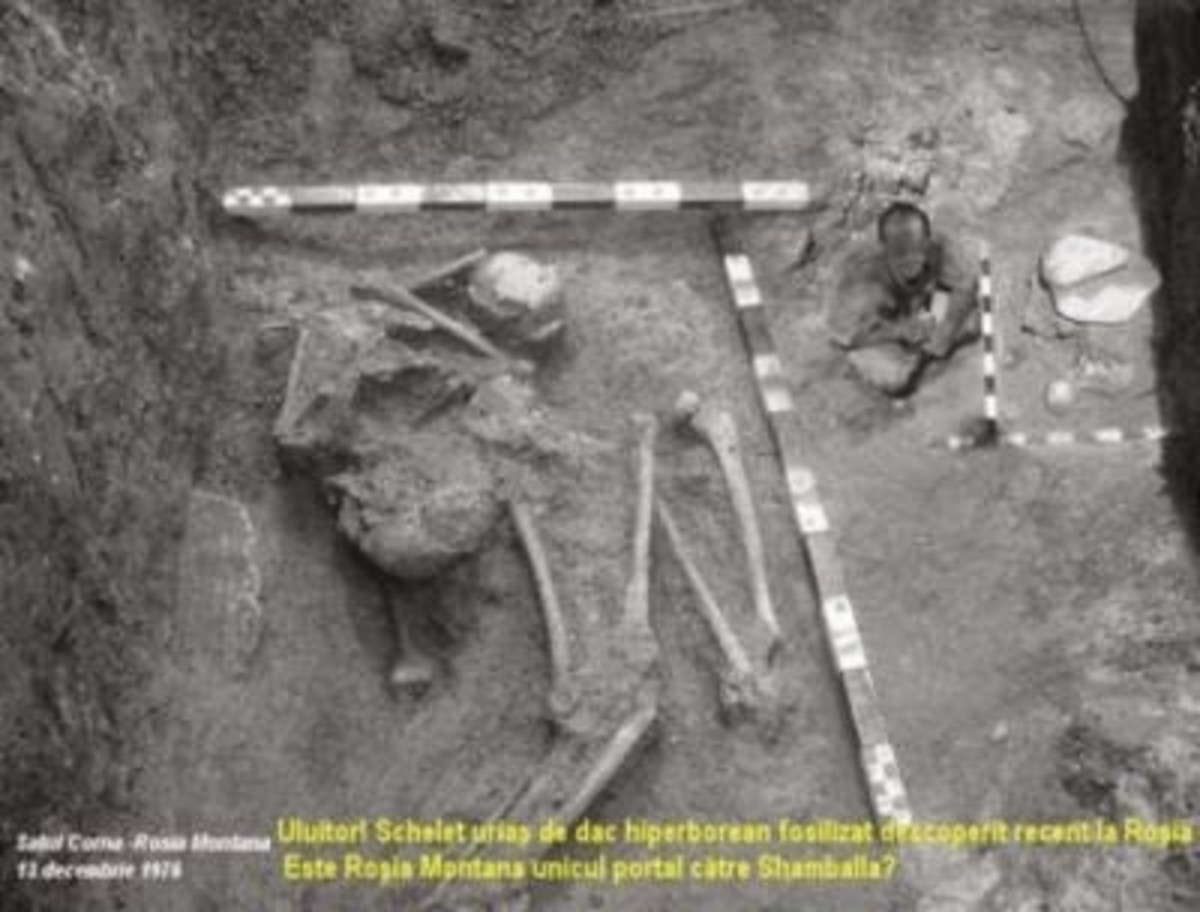 This photo of a giant skeleton from Romania is from an article that details a huge ancient base, near the Bugeci Mtns. in Romania.