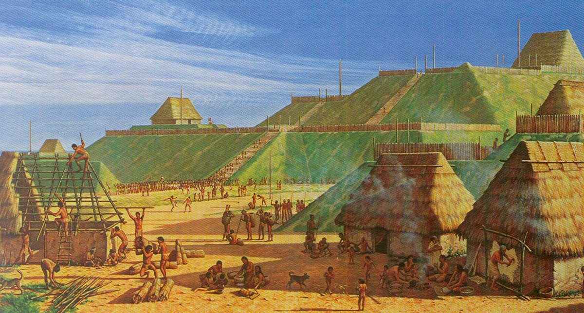 An artists depiction of what Cahokia would have looked like in its heyday, the population of this city was around 25,000 people near St. Louis, MO.