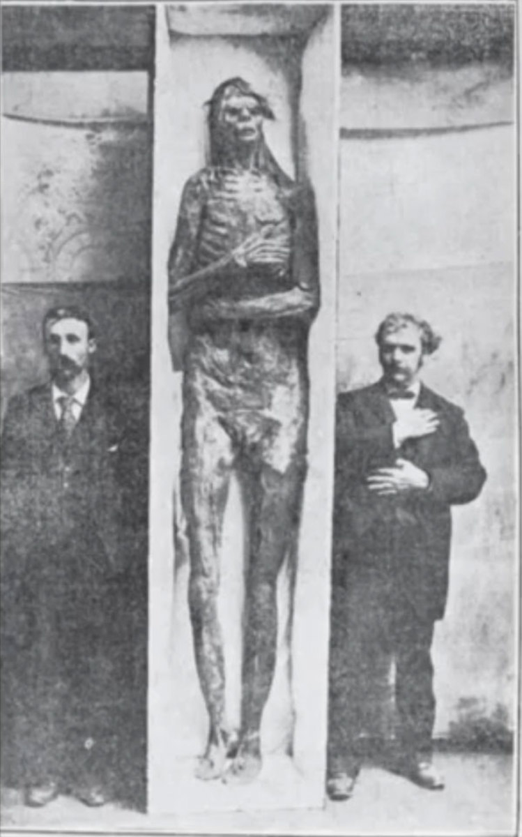 One of the better preserved and most photographed giants was found in a cave near San Diego, Cal., measuring almost 10 feet tall, near the turn of the 20th Century.
