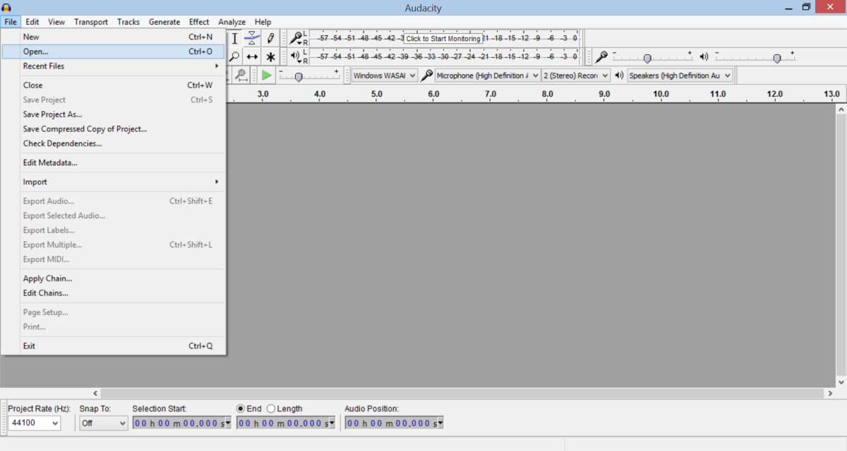 Audacity is easy to use even for beginners. Just go to File and then Open to load the MP3 or Wav file you want to modify.
