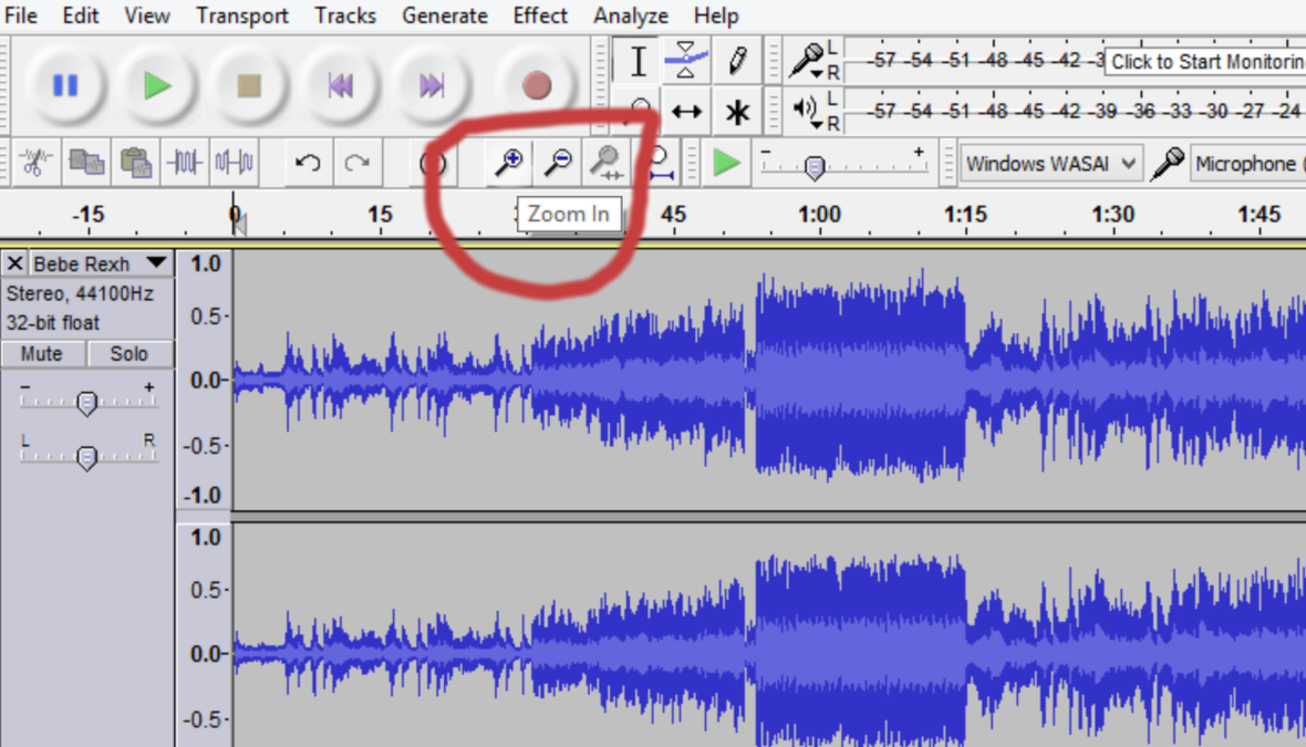 You'll have to zoom in and out to properly edit a track. Zoom in when you've found the portion of the song you want to modify, then zoom out to find the next section