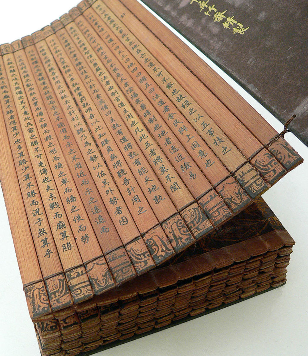 An actual copy of 'The Art of War' as it was originally written on bamboo strips then bound together.