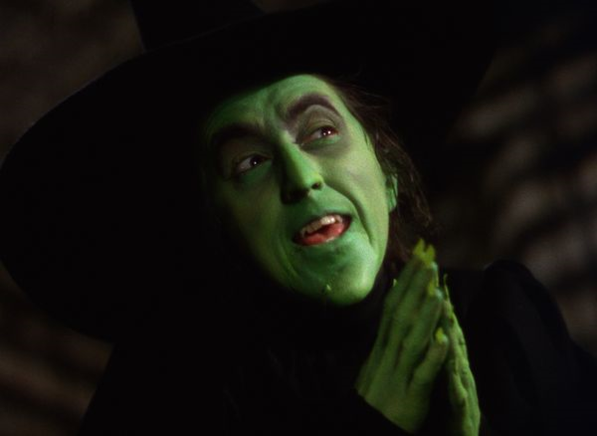 Margret Hamilton dressed up as the Wicked Witch of the West in The Wizard Of Oz