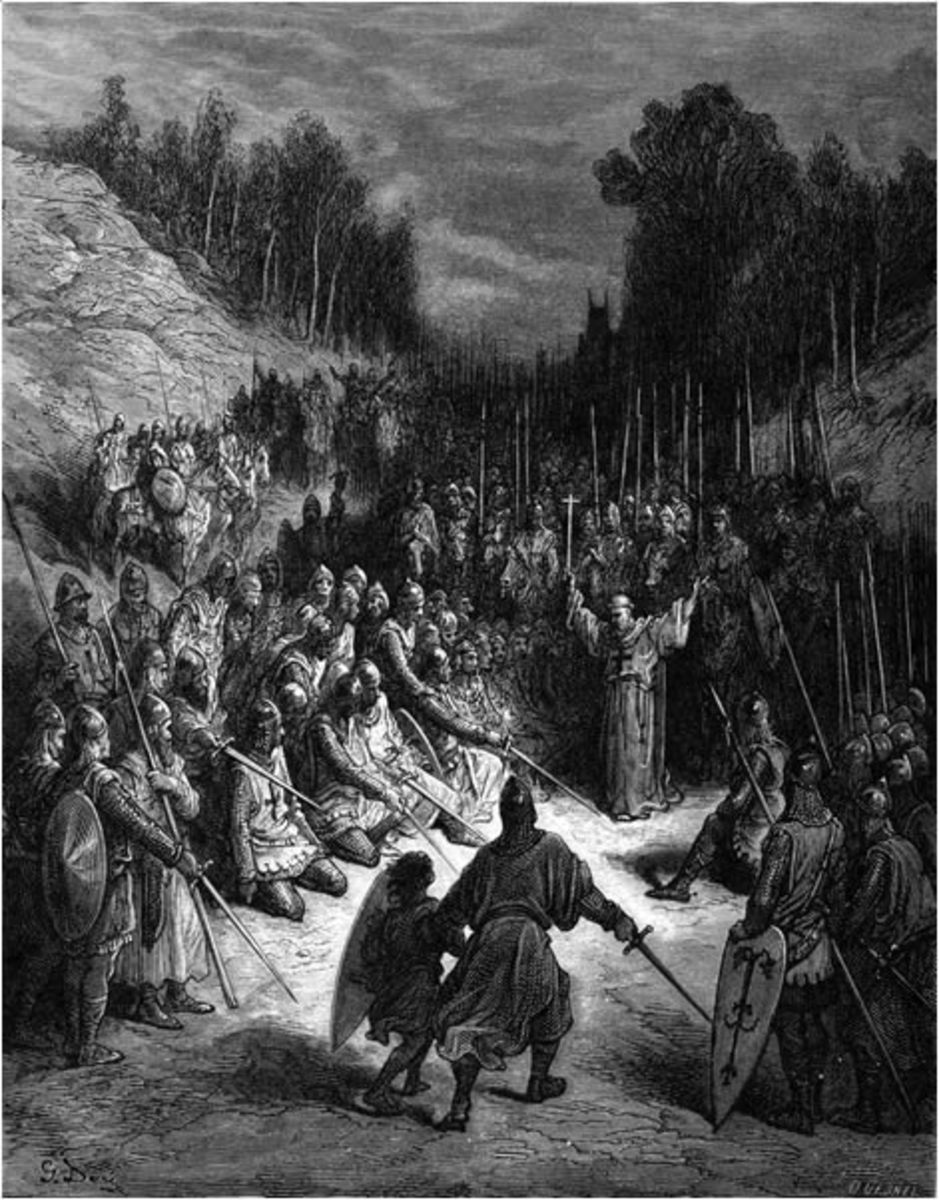 Peter the Hermit's preaching inspires awe and reverence in the crowd of Crusaders.