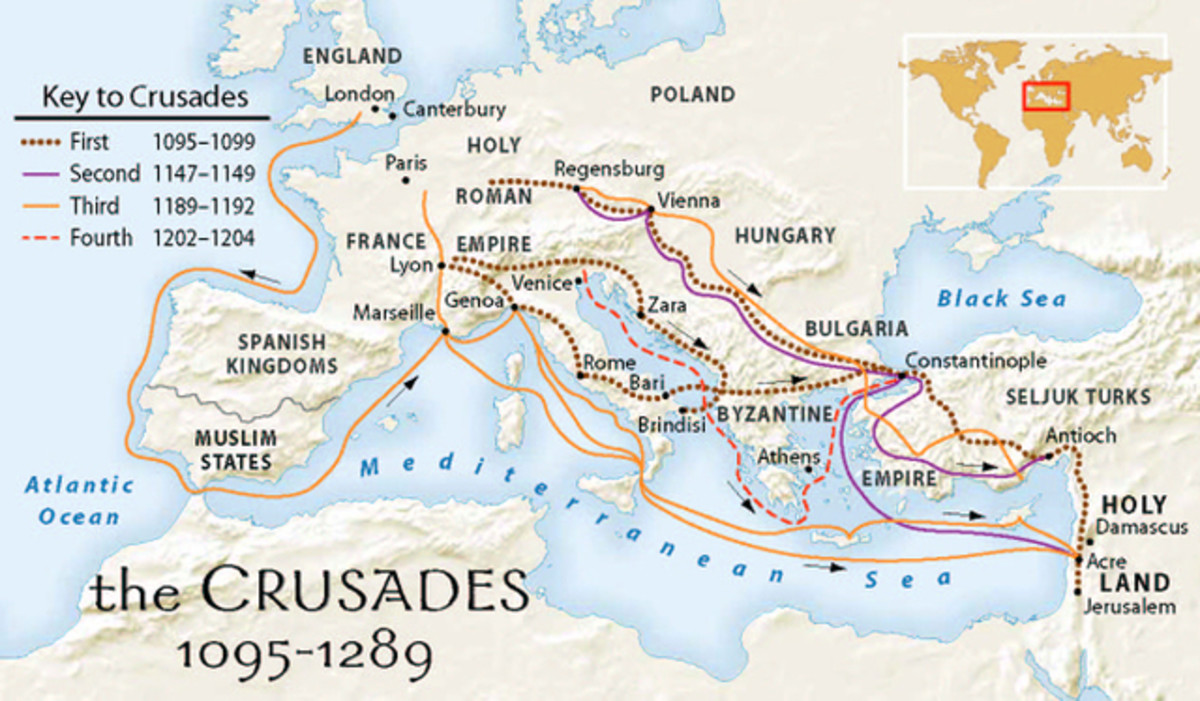 Map of the routes taken during the first crusades.
