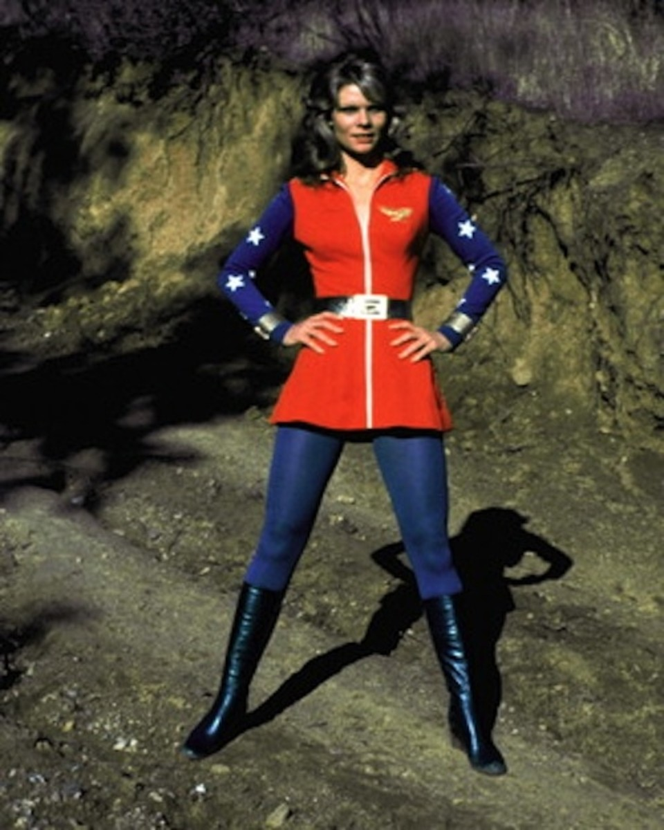 Cathy Lee Crosby in her Wonder Woman costume from 1974