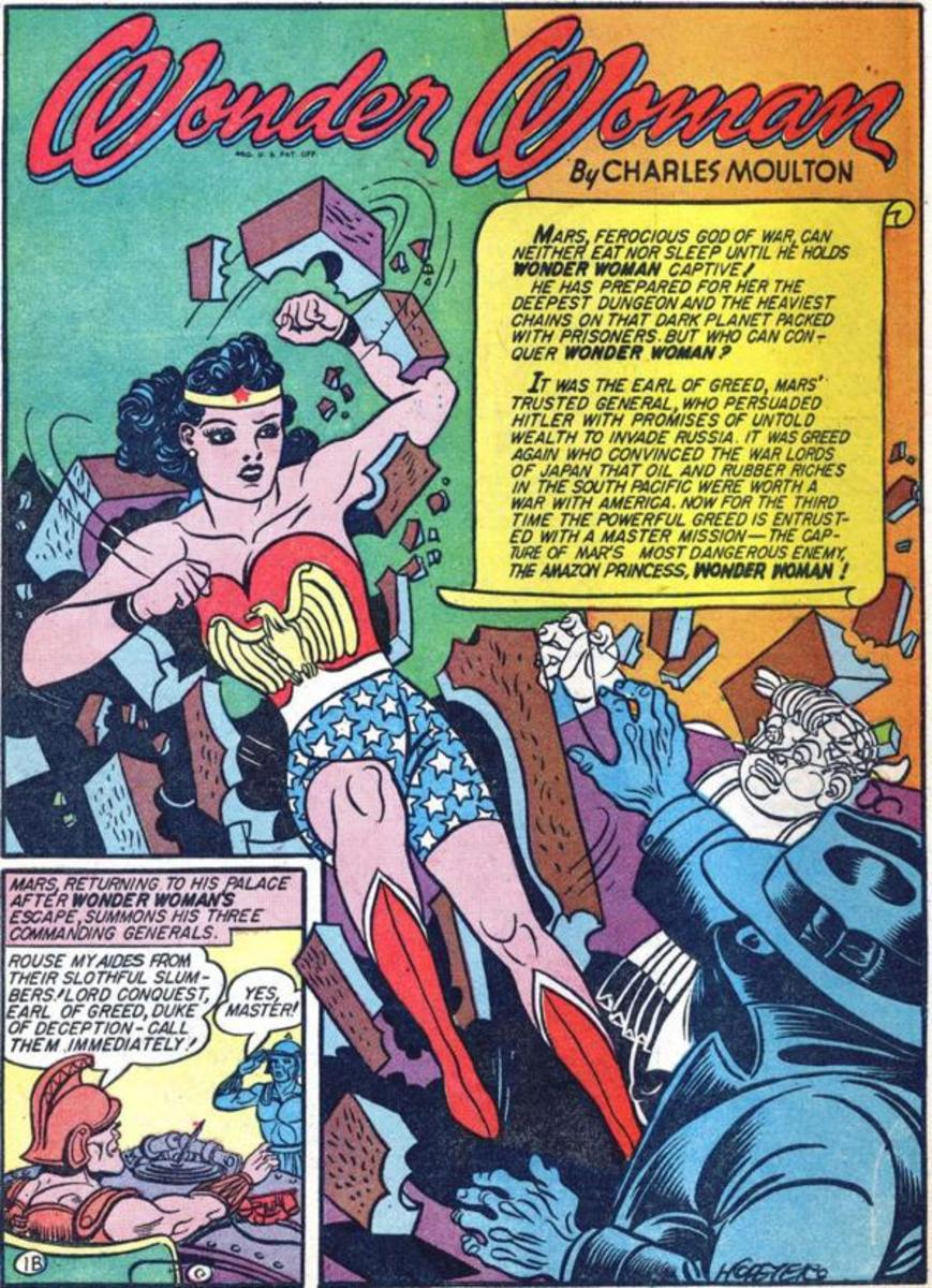 Wonder Woman costume in 1942 with the Eagle emblem that will, in later years, be changed to the WW