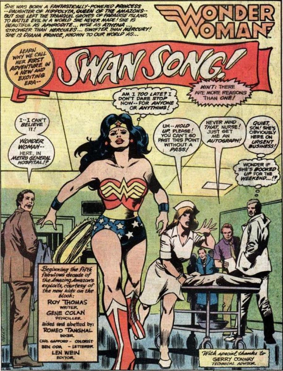 Wonder Woman costume in the 1980s with the WW symbol on her chest replacing the Eagle