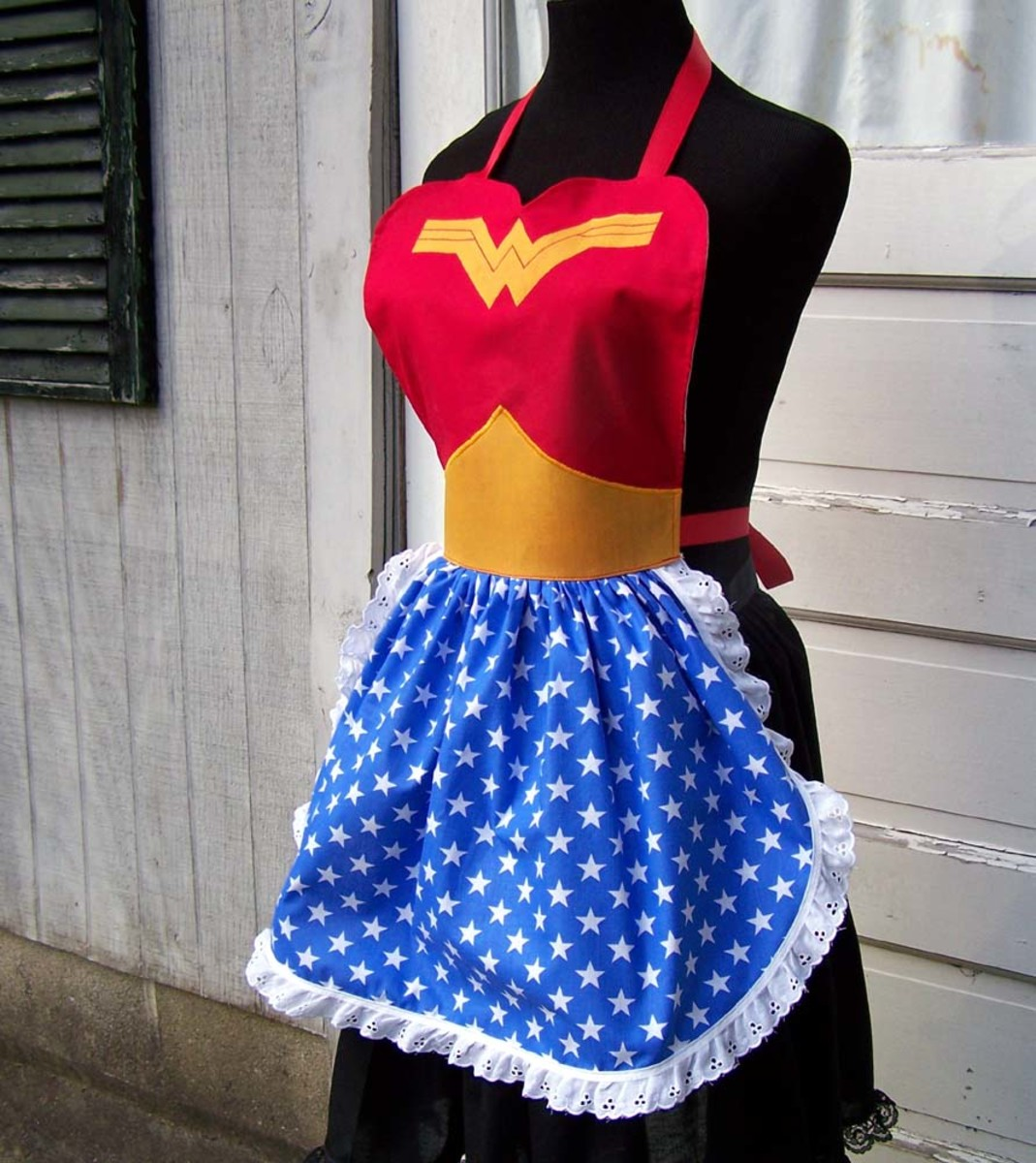 Wonder Woman apron - do you think Princess Diana aka WW can actually cook?  This apron would look great over your clothes at the next Halloween party if you are looking for a simple but funny costume idea.