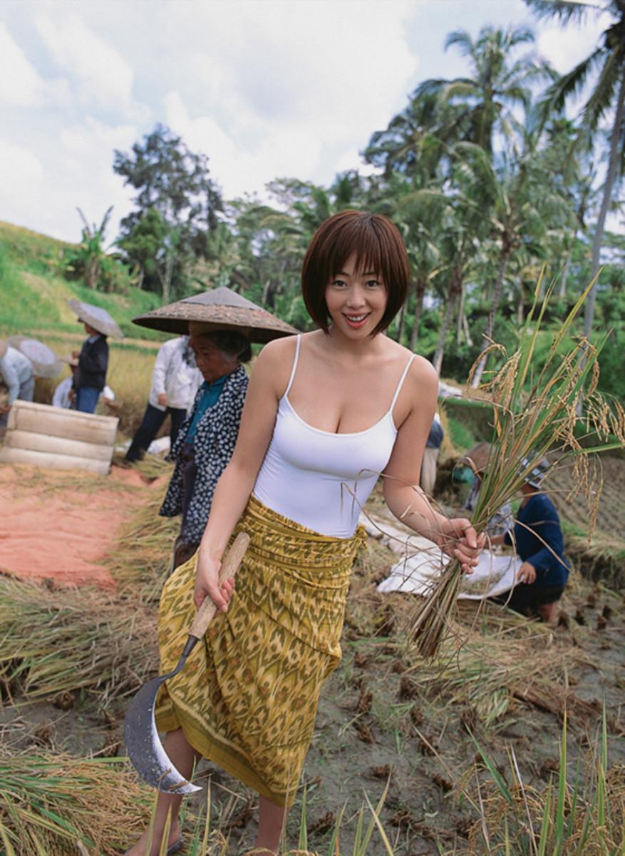 Waka Inoue seen here getting ready to work in a wheat field.