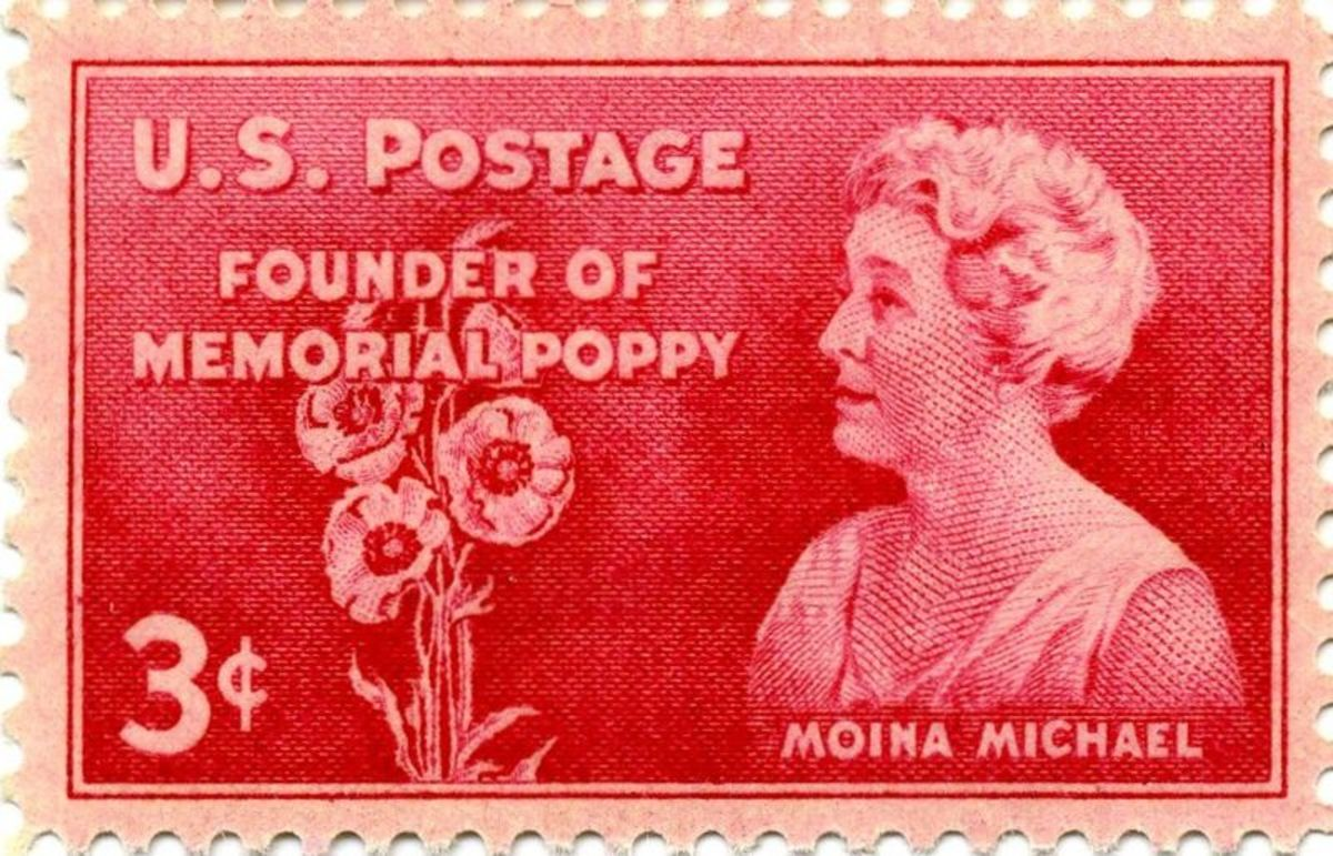 Moina Michael, promoter of Poppy Day observance, commemorated in US postage stamp of 1948.