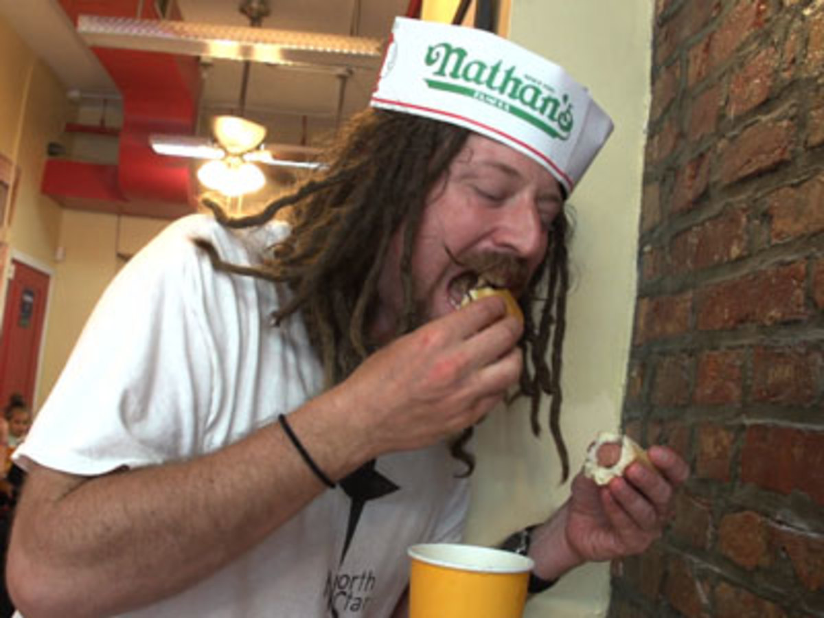 "Jason ""Crazy Legs"" Conti  goes wide open in  eating competitions."