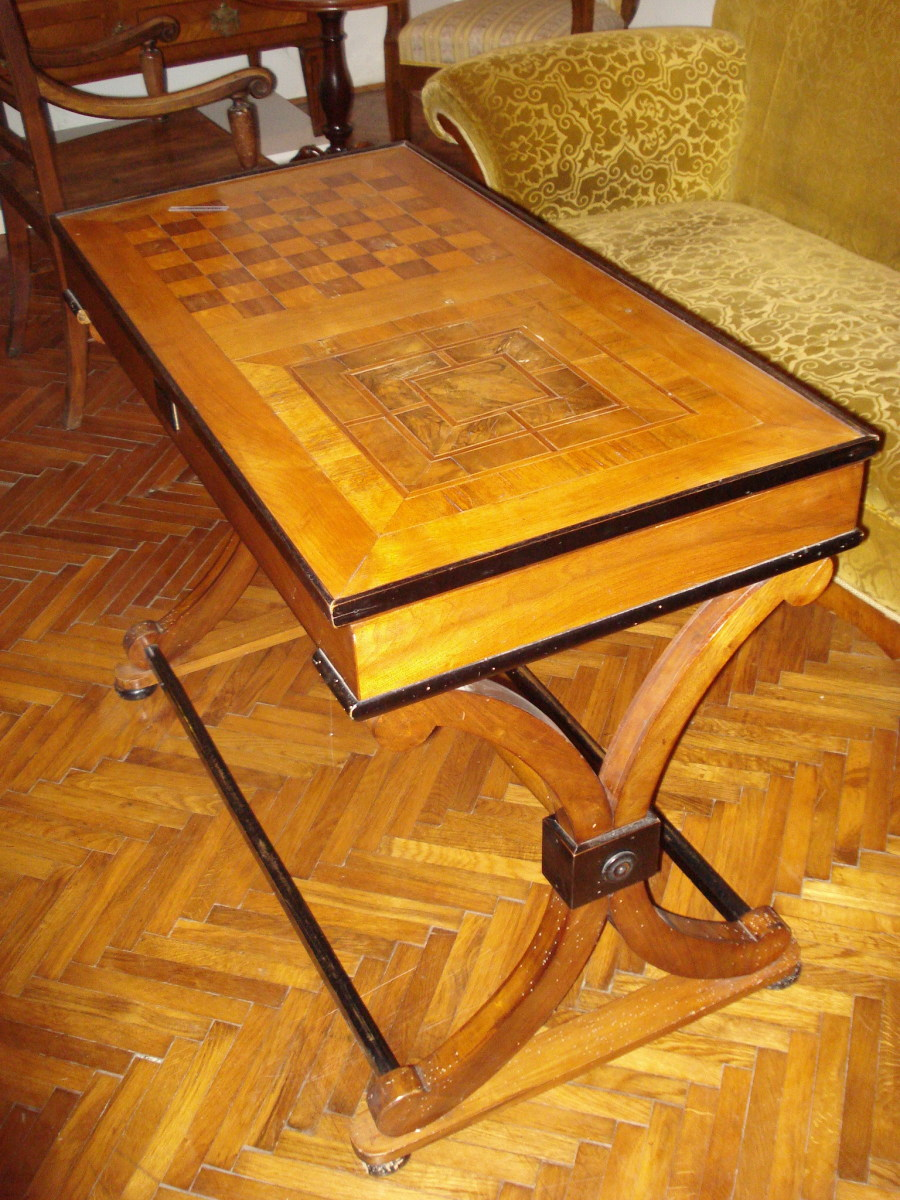 An old combined Nine Men's Morris and chess table.
