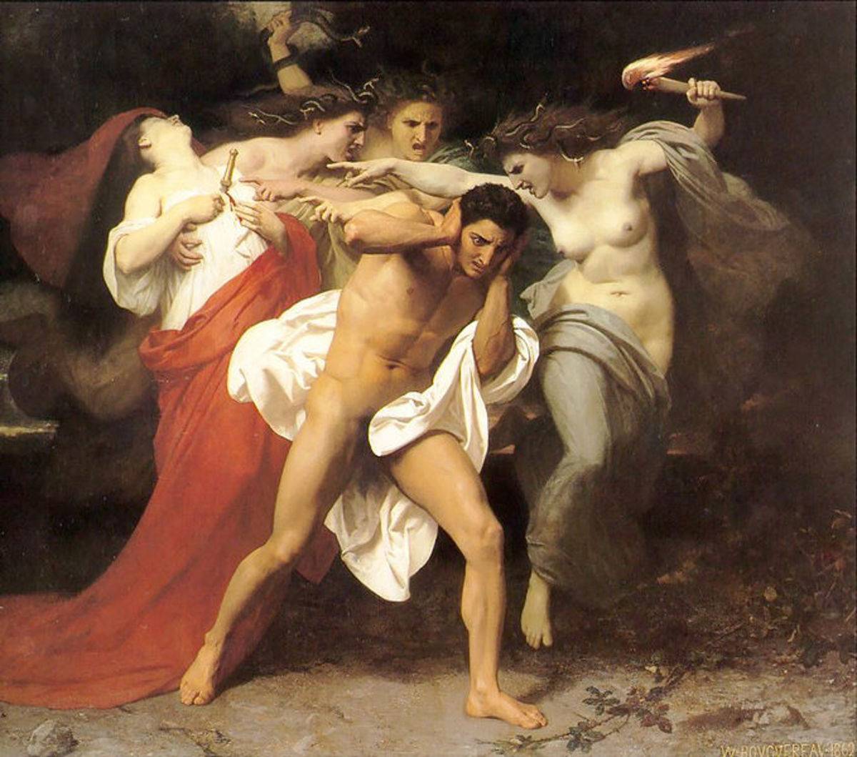 The Remorse of Orestes or Orestes Pursued by the Furies - William-Adolphe Bouguereau (1825–1905) -PD-art-100