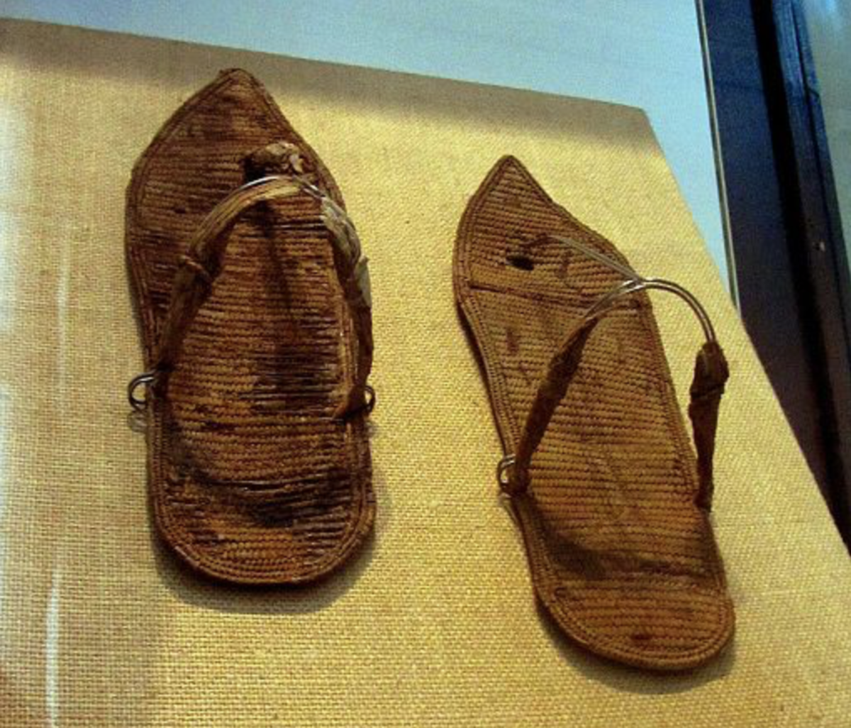 Ancient Egyptian flip flops made of papyrus