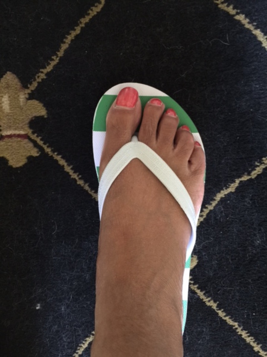Flip flops show off a great pedicure!
