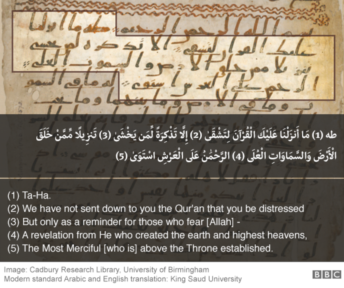 A verse from the 1400 year old manuscript compared to the modern version of Qur'an.