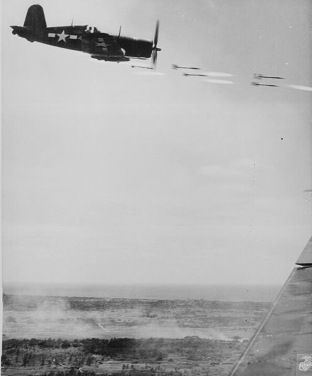 Marine Corsair in action during the Battle of Okinawa, 1945.