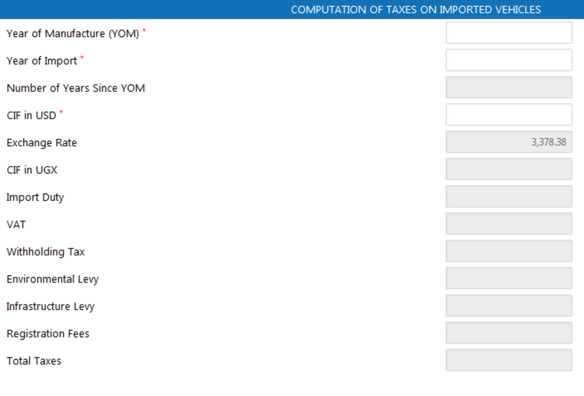 Official URA Vehicle import tax calculator