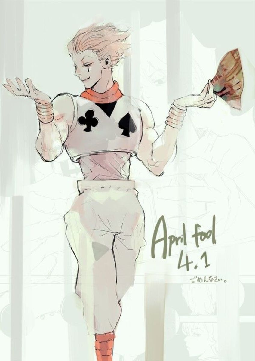 Ishida's drawing of Hisoka from Hunter x Hunter for April Fools.